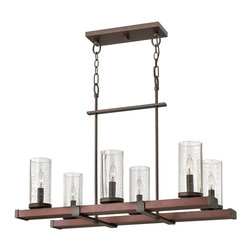 Fredrick Ramond - Fredrick Ramond Japer Transitional Rectangular Chandelier X-NRI60204RF - This transitional chandelier is a magnificent addition over a kitchen island or rectangular dining table. Light glows through the faux candle lights that rest behind each seemingly clear seedy glass shade. The Fredrick Ramond Japer Transitional chandelier features an iron finished frame with linear construction.