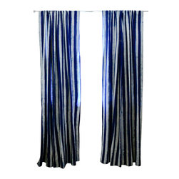 "Ichcha - Indigo Stripe Window Curtain, 84"" - The Panels are hand block printed and colored with natural dyes! The Stripes have a handmade feel to them with their mud resist printing technique. They can also be paired with our Toile curtains to create a unique setting in your home."