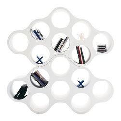 "Cappellini - Cloud Shelf in White - Features: -Modular double - faced bookcase. -Manufactured with the rotational technology. -Can be combined together with clips. Each element is provided with two clips. -Warranty length: 2 Years. -No assembly required. -Overall dimensions: 41"" H x 74"" W x 16"" D."