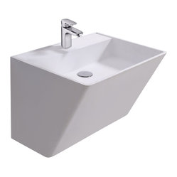 ADM - Matte White Wall Hung Stone Resin Sink - This unique sink extends upward and outward leaving room beneath for more foot room or storage. This wall hung sink is ideal for small bathrooms or if you want people to see first hand what's new in bathroom sinks.