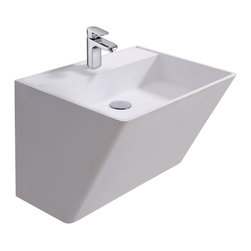 ADM - ADM Matte White Wall Hung Stone Resin Sink - This unique sink extends upward and outward leaving room beneath for more foot room or storage. This wall hung sink is ideal for small bathrooms or if you want people to see first hand what's new in bathroom sinks.