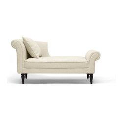 Wholesale Interiors - Lucille Beige Linen Victorian Chaise - Beige linen blend upholstery