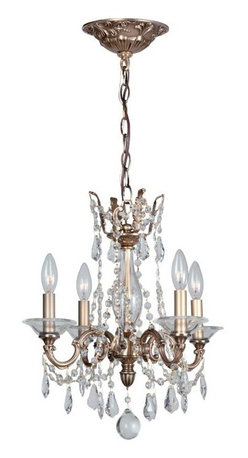 """4 Light 16"""" Roman Bronze Chandelier with Clear Hand Cut Crystal - Bronze, gold and solid brass are back in fashion. This chandelier collection embraces this trend, combining our sumptuous Roman bronze finish with handcrafted arms, clear cut crystal swags and curvy pendants."""
