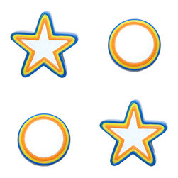Borders Unlimited - Colorful Stars Circles 2 Pack Drawer Pulls-Cabinet Handles - FEATURES: