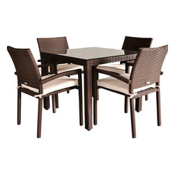 International Home Miami - Atlantic Liberty 5-Piece Patio Dining Set - Great quality, stylish design patio sets, made entirely of high quality resin. No metal parts. I won't rust. Polyester cushion with water repellant treatment. Enjoy your patio with elegance all year round with the wonderful Atlantic outdoor collection.