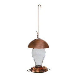 Gardman - Gardman - Copper Hummingbird Feeder - Attractive and functional. Comes with a feeder-port brush for easy cleaning. Coated wire hanging hook. Copper and glass design. 18 ounce capacity