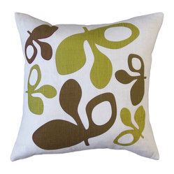 Hand Printed Linen Pillow - Pods, Green/Chocolate, 16 x 16