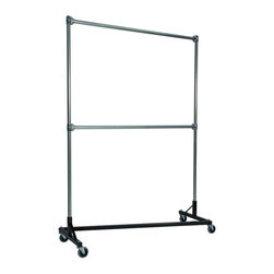Z Racks - Heavy Duty Z-Rack 5 ft. Double Rail Garment R - Base Color: Black. 500lb capacity. 14 gauge, 60 in. Long steel base (Environmentally safe powder coated finish ). 16 gauge, 84 in. upright bars and double hang rails. 1 5/16 outside diameter upright bars and hang rail. Grey non-marking soft rubber with TP center 4 in. casters. Made in the USA. 63 in. L x 23 in. W x 91 in. HThis Z-Rack is designed to hold up to 500 lbs of apparel while maximizing all 5 ft. of length. The vertical hanging space is 7 ft. and because the two rows are placed on top of each other, the rack will not tip under a heavy load. The second hang rail can be placed anywhere desired along the uprights.