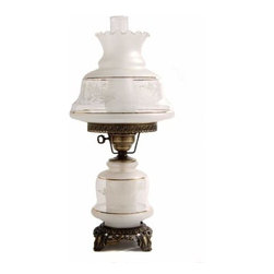 Summit Lamp Company - 23-Inch Victorias Window Table Lamp - Etched Gold and White Spray Glass Shade  - Candelabra bulb is located in the lamp base for use as a nightlight.  - Candelabra bulb included. Summit Lamp Company - 5122-VW