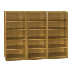 Bush - Bush Quantum 5 Shelf Wall Bookcase in Modern Cherry - Bush - Bookcases - QT3605MCPKG - Bush Quantum 5 Shelf Standard Wood Bookcase in Modern Cherry