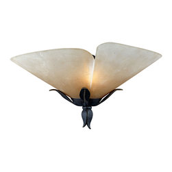 Quoizel - Quoizel Imperial Bronze Sconces - SKU: YU8710IB - Beautiful wrought iron formed into delicate leaves adds a touch of whimsy to this casual look. The elegant shades are evocative of a calla lily, adding a soft, romantic edge to the bold silhouette.