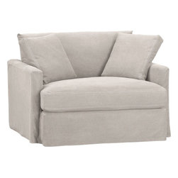 Lounge Slipcovered Chair and a Half -