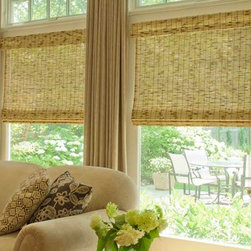 Natural Roman Shades - Natural Roman Shades give an earthy feel to the livingroom