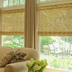 Natural Roman Shades - Natural Roman Shades give an earthy feel to the livingroom