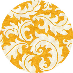 Jaipur Rugs - Transitional Abstract Pattern Gold /Yellow Wool/Silk Tufted Rug - BL08, 8'RD - Get swept away in the swirling pattern of this wool and silk hand-tufted rug. This plush, round rug, featuring beautiful swirling leaves against a gold background, will create a cheery and welcoming feel to nearly any room in your home.
