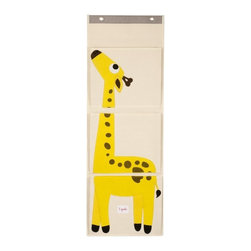 3 Sprouts - 3 Sprouts Wall Organizer, Giraffe - Our yellow hanging wall organizer in Giraffe pattern is the perfect solution for clearing all those small pieces that add up to one big mess. This product is perfect gift for babies and toddlers. The item is made up of 100% cotton canvas.