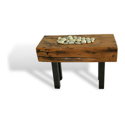 eastmantribe - Stone Well Table - The stone Well Table is a hand carved side or end table made from repurposed Douglas Fir wood and metal legs. A unique feature is the hand carved well on top of the table that serves as a resting place for painted stones.  (Stones included)