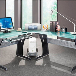 """Techni Mobili - Graphite & Frosted Glass L-Shaped Computer Desk with CPU Caddy - Made of glass panels, steel frame and legs made of MDF black PVC laminate. Speaker stand, mobile CPU platform, and sliding keyboard tray provide ample space for either your printer or scanner. The frosted glass table top and beautiful graphite finish give this desk and modern deco look to compliment any office space. Features: -Frosted Tempered Glass main desk area. -Pullout keyboard drawer with safety stop. -Mobile CPU Caddy. -Legs are made of MDF with matching black PVC laminate. -Front privacy panels made of perforated steel. -Desk Dimensions: 64.5"""" W x 54.5""""D x 30""""H."""