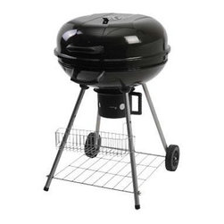"Ragalta - 22.5"" Stand Charcoal Grill - 22.5"" Stand Charcoal Grill with 2 Reinforced nylon handles.  All-weather wheels.  2 Storage racks for convenient storage of tools and charcoal.  Bowl and lid are constructed of high quality steel, and coated with porcelain enamel for strength and heat retention.  Aluminum vent stays rust-free, guaranteeing smooth operation while grilling.  Large plated steel cooking grate for perfect grilling at any temperature.  Removable, high-capacity ash catcher makes cleaning your grill as easy as one twist."