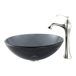 Kraus - Kraus C-GV-104-12mm-15000BN Clear Black Glass Vessel Sink and Ventus Faucet - Add a touch of elegance to your bathroom with a glass sink combo from Kraus