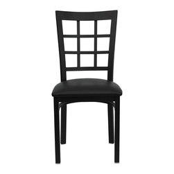 Flash Furniture - Hercules Series Black Window Back Metal Restaurant Chair - Black Vinyl Seat - Provide your customers with the ultimate dining experience by offering great food, service and attractive furnishings. This heavy duty commercial metal chair is ideal for Restaurants, Hotels, Bars, Lounges, and in the Home. Whether you are setting up a new facility or in need of a upgrade this attractive chair will complement any environment. This metal chair is lightweight and will make it easy to move around. For added comfort this chair is comfortably padded in vinyl upholstery. This easy to clean chair will complement any environment to fill the void in your decor.