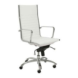 """Eurostyle - Eurostyle Dirk High Back Leatherette Swivel Office Chair in White - Leatherette Swivel Office Chair in White belongs to Dirk High Back Collection by Eurostyle Leatherette over foam seat and back. BIFMA approved chromed steel base. Chromed aluminum armrests. Tilt, swivel and gas lift. PU casters with stainless steel hood. Flat bungee band seat construction inside seat. Seat height 18"""" ��_��_��_ 21"""". More colors. Office Chair (1)"""