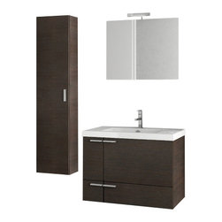 ACF - 31 Inch Wenge Bathroom Vanity Set - Set Includes: Vanity Cabinet (2 Doors,1 Drawer), high-end fitted ceramic sink, wall mounted vanity mirror, tall storage cabinet.