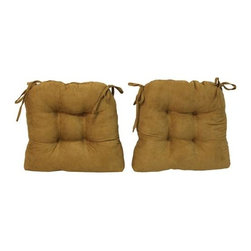 Blazing Needle Designs - U-Shape Cushion for Dining Chair - Set of 2 (Camel) - Fabric: Camel. Set of 2. Includes fabric ties. 4 in. thick tufted design. Polyester filled. Made from premium micro suede fabric. 16 in. L x 16 in. W