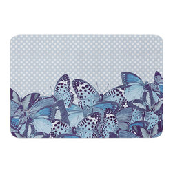 """KESS InHouse - Suzanne Carter """"Butterfly Blues"""" Aqua Memory Foam Bath Mat (17"""" x 24"""") - These super absorbent bath mats will add comfort and style to your bathroom. These memory foam mats will feel like you are in a spa every time you step out of the shower. Available in two sizes, 17"""" x 24"""" and 24"""" x 36"""", with a .5"""" thickness and non skid backing, these will fit every style of bathroom. Add comfort like never before in front of your vanity, sink, bathtub, shower or even laundry room. Machine wash cold, gentle cycle, tumble dry low or lay flat to dry. Printed on single side."""