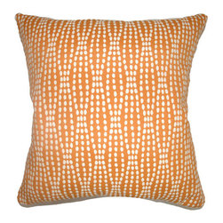 The Pillow Collection - Udell Dot Pillow Tangerine - - Comes standard at 18 x 18  - Reversible pillow with same fabric on both sides  - Includes a hidden zipper for easy cover removal and cleaning  - Comes standard with a down pillow insert  - All four sides have a clean knife-edge finish  - Pillow insert is 19 x 19 to ensure a tight and generous fit  - Cover and insert made in the USA  - Spot cleaning recommended  - Fill Material: Down  - Pillow cover made of Cotton The Pillow Collection - P18-D-36140-TANGERINE-C70P30