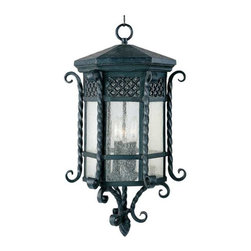 Maxim Lighting - Maxim Scottsdale 3-Light Outdoor Hanging Lantern Country Forge - 30129CDCF - Scottsdale is a traditional, Mediterranean style collection from Maxim Lighting Interior in Country Forge finish with Seedy glass.