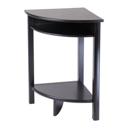 Winsome Wood - Winsome Wood Liso Corner Table with Dark Espresso Finish X-02729 - Combination of solid and composite wood corner desk with Espresso finish from our coordinated Liso line of home office furniture is 20.5 x20.5 x 31.1H.  The desk has 2 open shelves for storage: matches in height with the printer stand and file cabinet .  It comes ready to assemble with hardware and tools