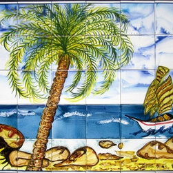 "Hand Painted Mosaic Murals - Beautiful decorative mosaic mural. Total size of mural 48"" wide x 30"" height. Hand painted in Tunisia, a southern Mediterranean country. Mosaic panel consist of 40 ceramic tiles, each tile is 6"" x 6"" x 0.25 thick. Ceramic tiles are fired twice between 500-600 degrees in a ceramic oven. Murals have a colorful and glossy finish. Ceramic tiles are scratch resistant, water and fade resistant. Great for indoor or outdoor use. Easy set up and Heavy duty. Ref; CCT1261"