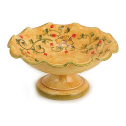 Artistica - Hand Made in Italy - Primavera: Fruit Bowl - Primavera: This product is part of our all new Primavera collection featuring a delicate design of spring (primavera) flowers over a new sponged base hand painted in a warm yellow tone.