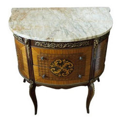 Antique French Wooden Dresser with Marble Top -
