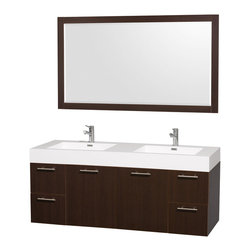Wyndham Collection - Bathroom Vanity Set in Espresso Finish - Includes mirror, sinks, drain assemblies and P-traps. Faucets not included. Integrated sink. Two functional doors. Four functional drawers. Plenty of storage space. Metal exterior hardware with brushed chrome finish. Single-hole faucet mount. Eight stage preparation, veneering and finishing process. Highly water-resistant low V.O.C. sealed. Unique and striking contemporary design. Modern wall-mount design. Deep doweled drawers. Fully extending soft-close drawer slides. Engineered for durability and to prevent warping and last a lifetime. Made from veneers and highest quality grade E1 MDF. Mirror: 58 in. W x 33 in. H. Vanity: 60 in. L x 22.25 in. W x 25 in. H. Care Instructions. Assembly Instructions - Vanity. Assembly Instructions - Mirror