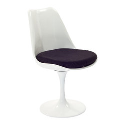 """IFN Modern - Tulip Style Chair-Black - Cashmere Wool - Cashmere WoolOverall Dimensions: 33.5\"""" H x 19.7\"""" W x 23.6\"""" D"""