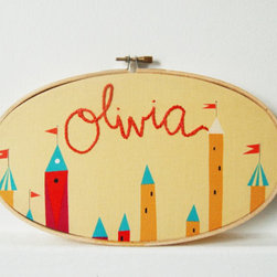 Custom Baby Name Embroidered Wall Art Hoop By The Merriweather Council - This combination of hoop art, embroidery and Lizzy House fabric makes me smile.