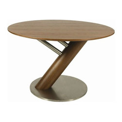 """Pastel Furniture - Pastel Furniture Indiana 47 Inch Round Table in Walnut - The Indiana Dining Table with 47"""" round wood top is the perfect alternative to the oval IA 535 table. Its clean-lined Stainless Steel and Walnut Veneer frame is a unique yet simple design. This beautifully made table will bring the family together."""