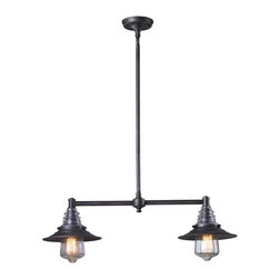 Elk Lighting - Elk Lighting 66830-2 Insulator Glass Traditional Island Light in Weathered Zinc - Elk Lighting 66830-2 Insulator Glass Traditional Island Light in Weathered Zinc