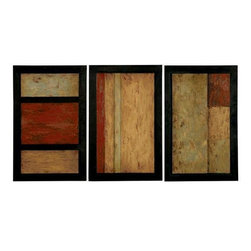 Home Decorators Collection - Triple Play by Grace - Set of 3 - Each hand-painted oil is a colorful array of reds and yellows. Wherever you place this beautiful set, we're sure you'll love its look for years to come. Raised and mounted on backboards. Each features a black finish with a light grey glaze.