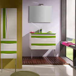 Giocco 32 inch bath vanity. White-green. - Made in Spain.