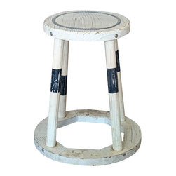 "Distressed Wood Stool - The wooden stool measures 15"" x 15"" x 17.25"". The stool is distressed white  blue in color. It will add a definite nautical touch to wherever it is placed and is a must have for those who appreciate high quality nautical decor. It makes a great gift, impressive decoration and will be admired by all those who love the sea."