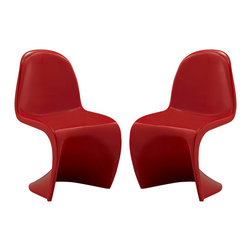 Modway - Slither Kids Chair Set of 2 EEI-1252 Red - Einstein may have shown that space was curved, but this chair gave tangible expression to the idea. Now over forty years since the Slither chair was first molded, budding scientists can rediscover the cosmos with this clean and durable playroom chair!