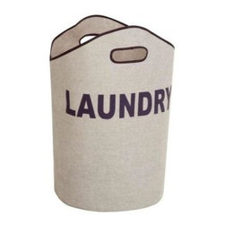 Honey Can DO - Laundry Tote, Grey - A cool play on Laundry. Always open and ready for a quick toss of clothing, our grey laundry tote is perfect for the dorm, teen and laundry room. It has laundry written all over it in navy blue, of course.