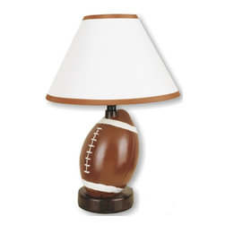 ORE International - Ceramic Football Table Lamp - Requires 1 standard 60W bulb (bulb not included). UL listed. Round flat base. Brown trim on top and bottom of the shades. Brown finish. 10 in. L x 10 in. W x 13.5 in. H (3 lbs.)Suitable for gridiron fans, bedrooms, dorm rooms, offices and sports themed rec rooms, this football themed table lamp will be a sporty addition to any decor.