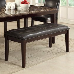 Homelegance - Homelegance Thurston Dark Brown Faux Leather Bench - Espresso - 2545-13 - Shop for Dining Chairs from Hayneedle.com! Update your seating arrangement at the dining table with the Homelegance Thurston Dark Brown Faux Leather Bench Espresso. The cushioned seating of this bench sits cozily on its Asian wood construction. The espresso finish on the base of this bench complements the tufted dark brown bi-cast vinyl upholstery beautifully.About Homelegance Inc.Homelegance takes pride in offering only the highest quality home furnishings that incorporate innovative design at the best value. From dining sets to mirrors sofas and accessories Homelegance strives to provide customers with a wide breadth and depth of selection as well as the most complete and satisfying service available for their category. Homelegance distribution centers are conveniently located throughout the United States and Canada.