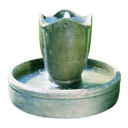 Campania - Palamos Garden Water Fountain, Copper Bronze - The Palamos Garden Fountain with Risers offers a contemporary style and elegance. The water creates a tranquil flowing water sound from this multi-tiered. The finishing techniques make every piece a uniquely beautiful and original work of art.