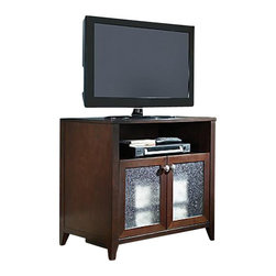 "Kathy Ireland Office by Bush Furniture - Kathy Ireland by Bush Grand Expressions Tall TV Stand in Warm Molasses - Kathy Ireland Office by Bush Furniture - TV Stands - KI2010203 - Perfect for those late-night talk shows the kathy ireland Office by Bush Furniture Grand Expressions TV stand was made for quiet evenings and busy mornings. It accommodates flat-panel TVs up to 42"""" and 100 lbs. With plenty of storage space including cabinets enclosed with textured glass and a warm molasses finish the TV stand will look right at home anywhere in your house. All pieces are crafted with painted wood finish and a protective top coat. Added safety features include a StabiliBar TV Safety Brace and soft edges and rounded corners to reduce the risk of collision injuries."