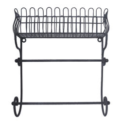 Enchante Accessories Inc - Distressed Metal Wall Shelf / Flower Box / Planter / Patio Container (Black) - Wrought iron flower planter and flower box with ornate scrollwork Distressed detailing for an antique, vintage lookVersatile enough for indoor and outdoor useProvides a beautiful place to display fresh flowers or potted plants Measures 14.75 in. x 4.5 in. x 15.75 in.Versatile enough for indoor or outdoor use, this wire metal planter provides an elegant place to hold flower pots and plants.  The Distressed Metal Flower Box / Planter / Patio Container is crafted from durable wrought iron and features a European inspired design with ornate French scrollwork across the top and a curved metal grid that mimics the construction and shape of old fashioned garden trellises.  Slender metal iron grids serve as the backdrop against the sturdy iron frame while the scrolled top adds a decorative touch and enhances the look of any room, garden, or patio.  A slim, rectangular flower box along the bottom offers the versatility to use this planter as a flower box outside a window or a patio container on your front porch or stairs.  With distressed edges that give it an elegant antique look, this metal flower box can be filled directly with dirt and flowers, used to grow a small fresh herb garden right outside your kitchen window, hold small potted plants, or show off fresh flowers that youメve proudly grown in your own garden.  Fill the planter high on a garden wall and let vines and flowers cascade over the edges to create an overflowing floral effect.  The neutral black finish is the perfect background on which to display any choice or fresh greenery or colorful blossoms.   This flower box can also be used indoors and can be incorporated easily into a kitchen or bathroom design.  In the kitchen, this planter can be used to hold recipe boxes or small containers, mason jars filled with tea, canisters filled with fresh coffee beans, or decorative bottles and jars of your favorite spices.  In a bathroom, this container can be used to hold guest linens, rolled hand towels, hand soaps, or apothecary jars filled with cotton balls or other paper products.  When this planter is placed on the wall, the scrolled detailing at the top adds a graphic element to any room design.